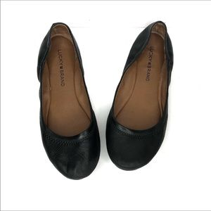 Lucky Brand Black Leather Emmie Flats Size 8